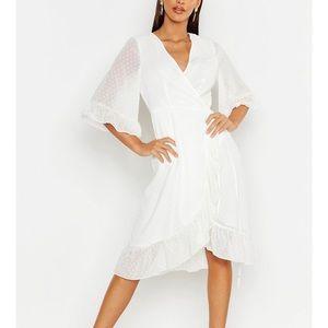Boohoo Dresses - NEW Boohoo White Chiffon Wrap Midi Dress